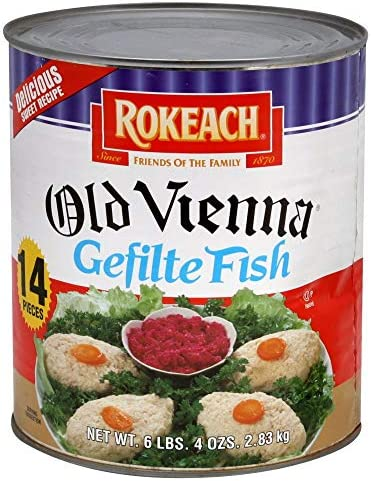Rokeach Old Vienna Gefilte Fish 14 Count Bulk 6lb 4oz Can Delicious Sweet Recipe product image