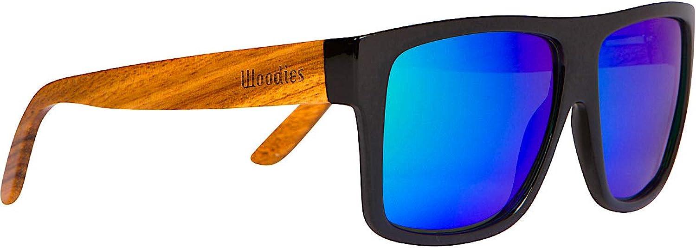 WOODIES Zebra Wood Aviator Wrap Sunglasses with Green Mirror Polarized Lenses