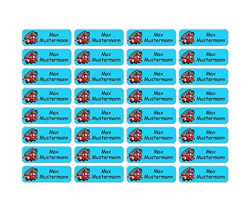 Sunnywall® Namensaufkleber Namen Sticker Aufkleber Sticker 4,8x1,6cm | 60 Stück für Kinder Schule und Kindergarten 38 Hintergründe zur Auswahl (01 Feuerwehr)