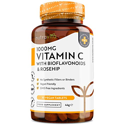Vitamin C with Rosehip & Bioflavanoids 1000mg - 30 Day Supply - Contributes to The Normal Function of The Immune System - Made in The UK by Nutravita