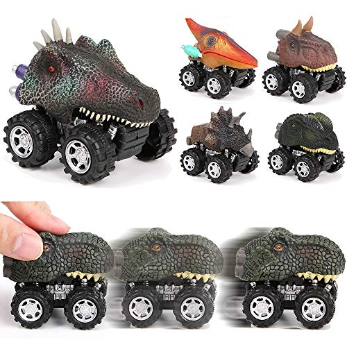PROLOSO Pull Back Vehicles Toy Car Playset Friction Powered Toy Vehicles Mini Cars Set Dinosaur Toys Kids Party Favors 6 Pcs