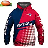 SYPT New England Patriots NFL Hoodies Pull Football Américain Jersey Tops Rugby équipe Logo Formation Sweatshirt à Capuche XXXXXL