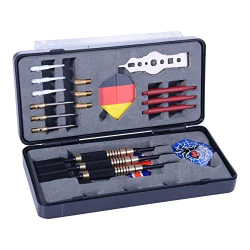 180 Darts Starter-Box | 3X Dartpfeile Steel- und Softdarts | Für Profis und Anfänger | 3X Nylon Shaft | 3X Barrel | 9X Flights | 3X Gewichte | 1x Tool | Inkl. Aufbewahrungsbox und schicker Verpackung