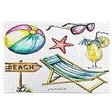 Sierra calar de 1000 Piezas,Set Puntero Madera Pelota Playa Estrella Mar,Juegos Rompecabezas imágenes para Adultos y niños Regalo graduación de Boda Familiar