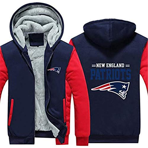 Sweat à Capuche NFL Football Clothing New England Patriots Training Suit Thickening Plus Velvet Zipper Hooded Sweater (C,XL)