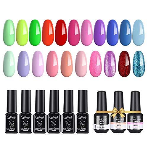 Creamify 21 Farben Sommer Nagellack Set,UV-Gel-Nagellack Soak Off Gel Nail Polish mit Funktionsmantel, Glitter Color Series Schellack Nagellack Starterset