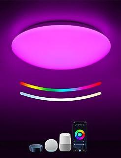 Plafonnier LED WiFi,TASMOR Lampe Plafond Intelligent avec Alexa et Google Home , APP Contrôle, 18W 1800LM Étanche Luminosi...