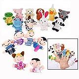 Xrten 16 Pezzi Marionette Dita,Burattini a Dito Finger Puppets in Velluto con 10 Animali e 6 Famiglie
