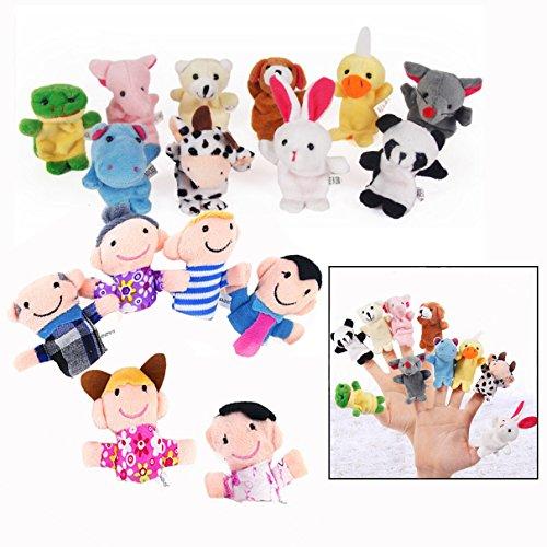 Xrten Juguetes educativos Marionetas de Dedo Animales Marionetas de Mano para Niños, 16Pcs