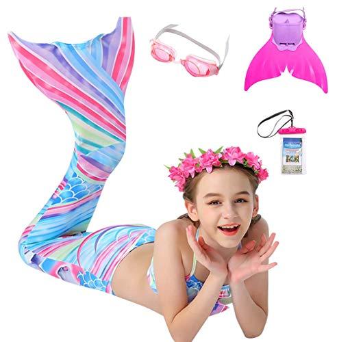 Traje De Baño De Sirena para Niños, Conjunto De 7 Piezas De Bikini De Playa, Cola De Sirena, Traje De Baño para Niños, Adecuado como Regalo,Natural,120CM