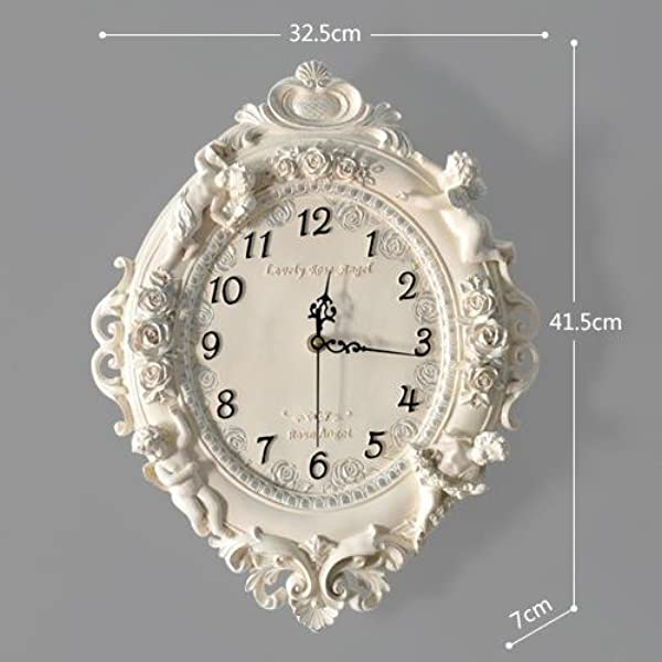 Y Hui Antique Wall Clock Living Room Silent Clock Bedroom Angel Wall Clock Mute Decorative Quartz Watches 16 Inch M White Painted Silver