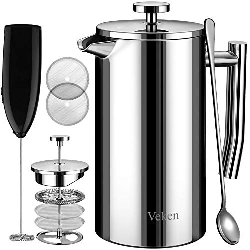 Veken French Press Coffee Tea Maker 50oz, 304 Stainless Steel Insulated Coffee Press with 4 Filter Screens Milk Frother, Rust-Free, Dishwasher Safe, Silver