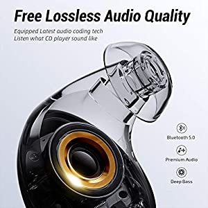 ENACFIRE E60 Bluetooth V5.0 Wireless Earbuds with Wireless Charging Case, 8H Continuous Playtime, IPX8 WaterproofBluetooth Earbuds for Sports, Apt-X Deep Bass Wireless Headphones, Built-in Dual Mics