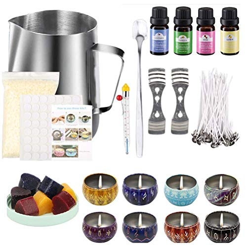 MAICOLA Complete Candle Making Kit, DIY Candle Making Accessories,Including Soy Wax Can Wick Thermometer Wick Holder Dyes Capacity Jug Mixing Spoon,12 Constellation Pattern