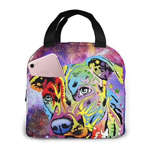 Yuanmeiju Isolierte Lunch-Tasche Neon Pitbull Buntes Hundegesicht Wasserdichte Isolierte Kühler-Einkaufstasche für Picknick-Reisen