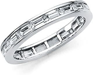 Sonia Jewels 14k Yellow or White Gold Baguette Channel Set Cubic Zirconia CZ 3mm Eternity Anniversary Wedding Ring Band 3/4 CTTW -