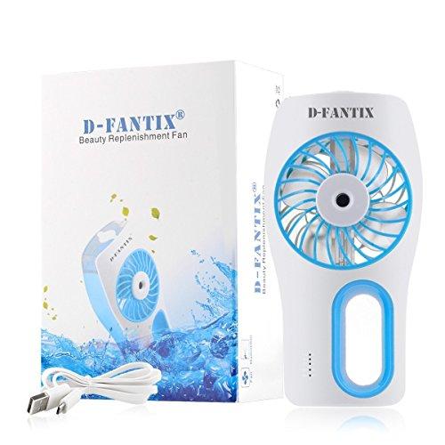 D-FantiX Ventilatore Portatile, Annebbiamento Raffreddamento Ventilatore, Portatile Alimentazione a Batterie Ricaricabili o USB, Blu