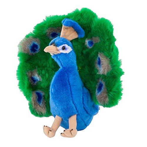 Teddys Rothenburg Peluche a forma di pavone seduto blu/verde/giallo, 24 cm