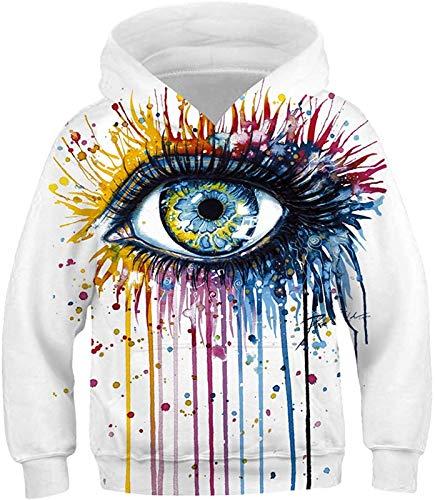 Junge Mädchen Hoodie 3D Druck Kapuzenpullover Langarm Pullover Hoodies Sweatshirt für 5-12 Jahre (Augen,S (125-130cm))
