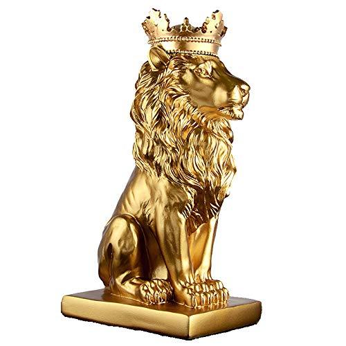 """Vinbcorw Kreative goldene Krone Löwen-Statue Harz schwarz/weiß Tier Figur Dekoration Desktop-Handwerk Skulptur 5.5 * 7.5 * 13.8\"""",Gold"""
