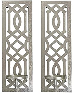 Hosley Set of 2 Iron Wall Pillar Candle Sconce 16.5 Inch High Mid Century Modern Antique Silver Galvanized Finish. Ideal G...