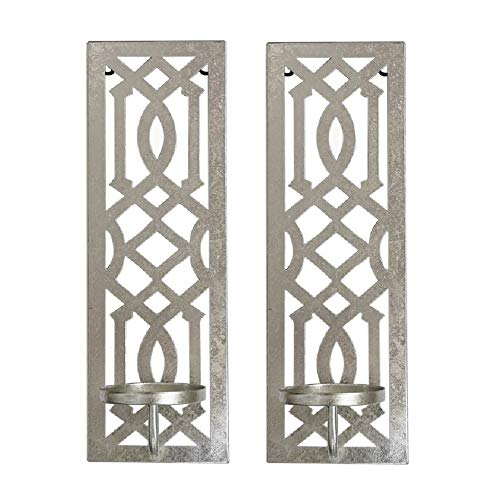 Hosley Set of 2 Iron Wall Pillar Candle Sconce 16.5 Inch High Mid Century Modern Antique Silver Galvanized Finish. Ideal Gift Wedding Special Occasions Home Office Spa Aromatherapy, Gardens O4