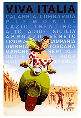 Viva Italia Poster, Vintage Italian Travel Poster, Italy, Vespa, Bella Donna