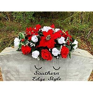 Christmas Saddle, Christmas Cemetery Flowers, Christmas Headstone Topper