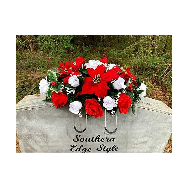 Christmas Saddle, Christmas Cemetery Flowers, Christmas Headstone Topper