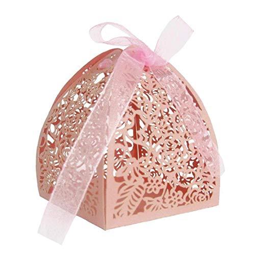50pcs Caja del de Rose láser Favor de Corte de la Boda Caja Cajas de Regalo con Cintas de favores y Regalos Decoración de Fiesta de la Boda - Rosa