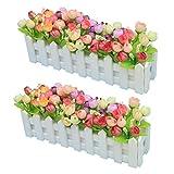 XuanMax 2pcs Roses Kunstblumen mit Zaun Kunstpflanzen mit Topf Künstliche Blumen im Pot Künstliche Pflanzen Gefälschte Topfpflanzen Bonsai Dekoartikel Ornamente 30 * 7.5 * 12cm - Farben Mischen