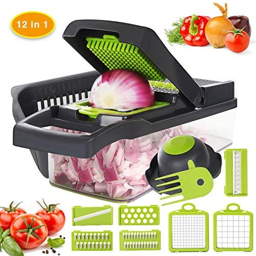 Vegetable Chopper, 12 in 1 Mandoline Slicer Food & Onion Chopper Cuber Cutter Onion Dicer, Veggie Slicer Manual for Garlic, Cabbage, Carrot, Potato, Tomato, Fruit, Salad (Green)