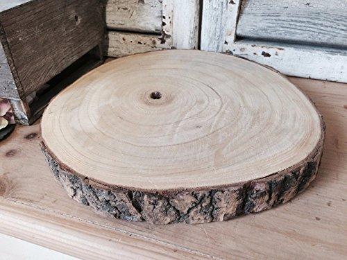 Large Natural Wood Log Slice Tree Bark Wedding Table Christmas Centerpiece Cake Stand (Large - 29cms - 33cms)