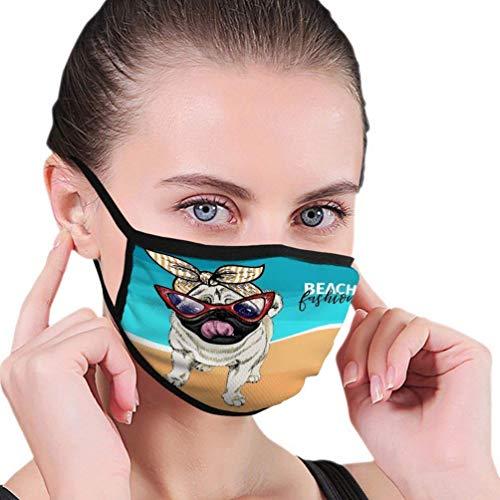 fenrris65 Ma-s-k - Protector facial con estampado resistente al viento, protección antigérmenes, retrato de carlino con gafas de sol para verano, vacaciones, mar, playa, océano, color negro