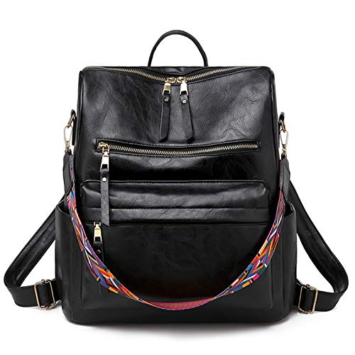 Women's Backpack Wallet Waterproof and Anti-Theft Lightweight PU Leather Nylon Shoulder Bag Travel Backpack Ladies