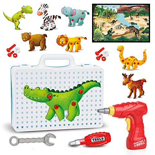 HONYAT 172pcs 3D Building Creative Puzzles Toys Set with 8 Animals Puzzles Electric Drill Dinosaurs Mat Construction Engineering Building Blocks Kids Toy for Toddlers Ages 3 4 5 6 7 8 9 10 Years