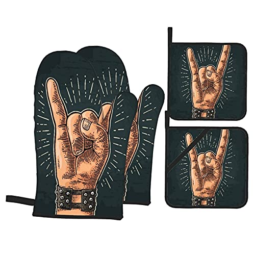 Roll Devil Horns Gesture Heat Resistant Kitchen Oven Mitts, with Non-Slip Oven Proof Gloves And Pot Holders for Housewares Cooking Baking Microwave Grilling