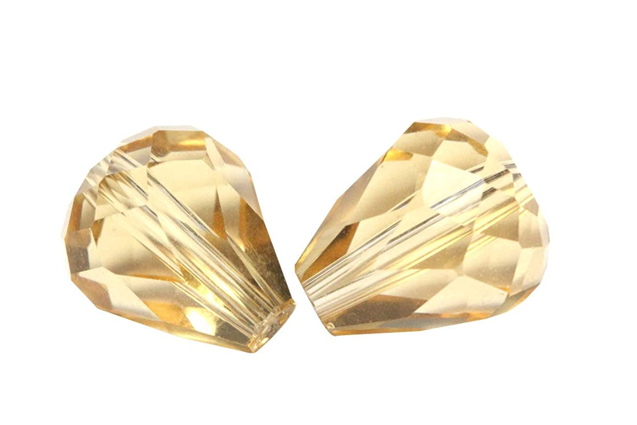 50pcs 10x8mm Adabele Austrian Teardrop Crystal Beads Gold Champagne Compatible with 5500 Swarovski Crystals Preciosa SST-1028