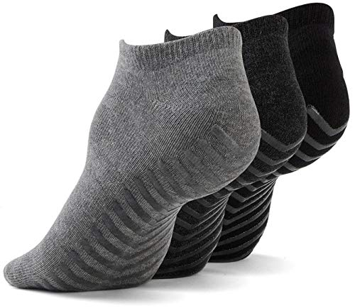 Gripjoy Non Slip Socks for Women and Men (3 pairs) - Low Cut Grip Socks for Hospital, Yoga, Pilates, Pure Barre (Large (Women's 9-14, Men's 8-12), Multi)