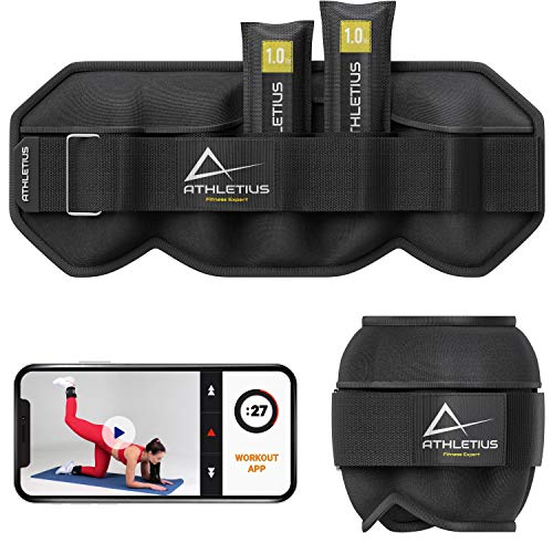 【Upgraded New】Adjustable Ankle Weights for Women Men 1 Pair 10 lbs - Weight for Legs with Removable Weights - Wrist Arm Leg Weights with Paper Exercise Cards