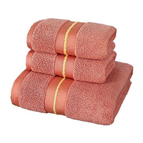 Juego de Toallas de algodón, Toalla de baño de satén de Lujo de Hotel Estrella, Toalla de baño Absorbente súper Suave para el hogar, Juego de Toallas Orange_3PCS