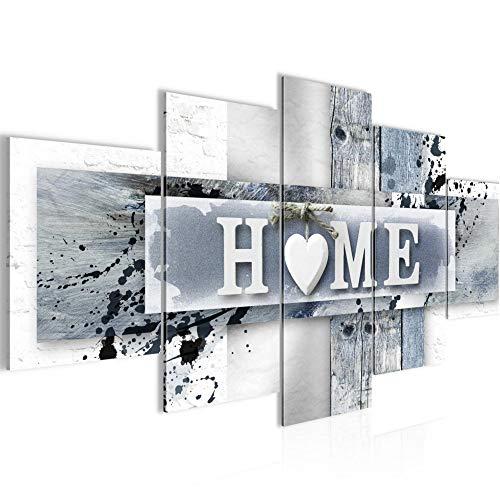 Runa Art - Bilder Home Herz 200 x 100 cm 5 Teilig XXL Wanddekoration Design Blau Grau 504551c