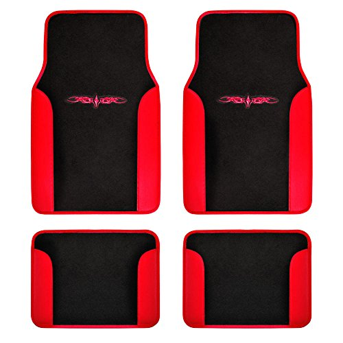 carXS Fresh Two-Tone Carpet Floor Mats, Tribal Tattoo Design with Vinyl Trim for Car Sedan Truck SUV, Front & Rear Set of 4, Universal Fit