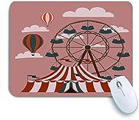 ECOMAOMI 可愛いマウスパッド レッドホイールレトロフェアサーカスカーニバルファンテントヴィンテージフェスティバルカルーセル 滑り止めゴムバッキングマウスパッドノートブックコンピュータマウスマット