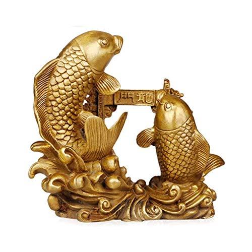 LXDDP Estatua latón Puro la Carpa Doble Saltando sobre la Puerta del dragón Estatua decoración Feng Shui Que atrae la Riqueza y el Buen Regalo decoración del hogar