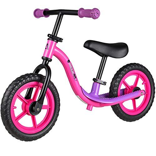 Albott Sport Balance Bike Kids Glider Bike Non-Slip Footrest Adjustable Height Seat & Handlebar for Boy & Girl Toddler Training Bike 12 Inflation Free EVA Tire Push Bike (Pink)