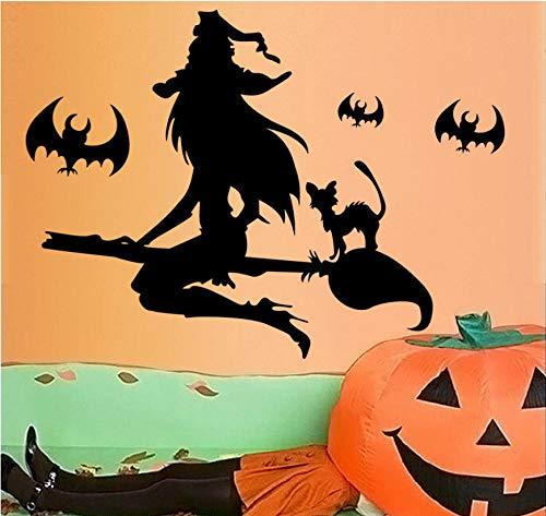 nobrand Wandtattoos Wandsticker Hexenbesen Fledermaus Halloween Wandaufkleber Wandaufkleber Für Kinderzimmer Mädchen Wohnzimmer Flur