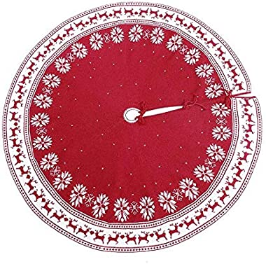 Christmas Ornament Tree Skirt, 48 inch Snow Flower Elk Red Tree Skirt Rustic Xmas Tree Skirt for Christmas Decorations Indoor