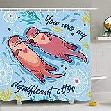 Duschvorhang Set Mit Haken 120X180Cm Phantasie Lustig In Ihnen Wasser Zeichnung Mein Baby Hochzeit Bedeutende Otter Romantische Tiere Wildtiere