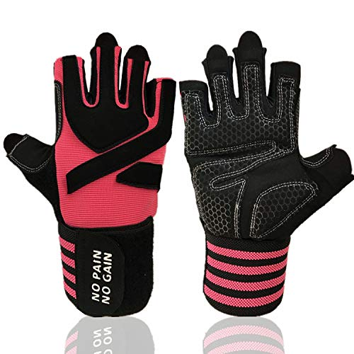 Weight Lifting Gloves Work Out Gym Gloves Men Women Crossfit with Wrist Wraps Support, Anti-Slip Grip Half Finger Gloves for Exercise, Weightlifting Hanging, Rowing, Biking, Training (Pink, Small)